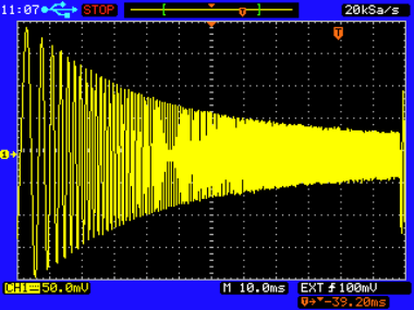 Scope trace shows the frequency response of an RC low-pass filter where R = 3 k and C = 95 nF